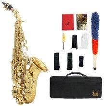 LADE mosiądz złoty wyrzeźbiony wzór Bb Bend Althorn saksofon sopranowy Sax biała perła guziki wiatr Instrument