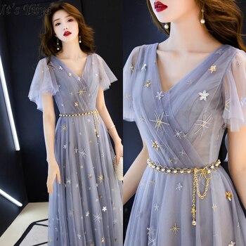 It's Yiiya Evening Dress Gray Blue Elegant V-neck Evening Dresses Long Stars Pattern Formal Gowns LF186 robe de soiree 2020