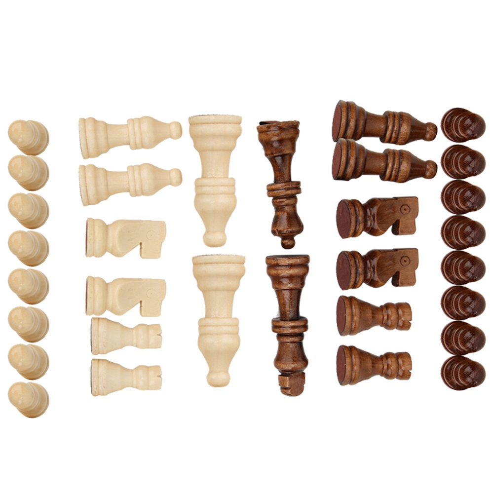 1.22-2.76 Inch 32PCS Wooden International Chess Game Set Wood Pieces Without Chessboard Gift Interactive Toy Birthday Gift