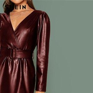 Image 3 - SHEIN グラマラスブラック冥衣ラップベルト付き Pu レザードレス女性秋冬長袖ハイウエスト鉛筆ショートドレス