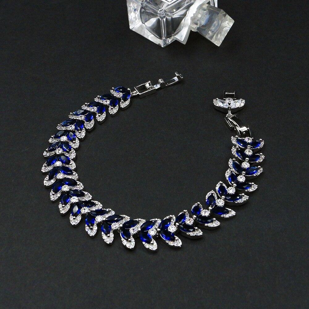 2020 Luxury Jewelry AAA High Quality Cubic Zircon Leaf Shape Vintage Bride Wedding Bracelet Bangle for Women