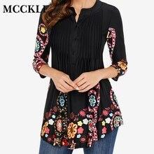 Женская Весенняя туника с принтом, блузка с рукавом 3/4, плиссированные топы и блузки для женщин 2020, летние модные рубашки размера плюс 5XLБлузки    АлиЭкспресс