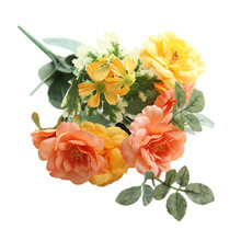 Oil painting tea rose bunch artificial flower home decoration wedding fake flowers
