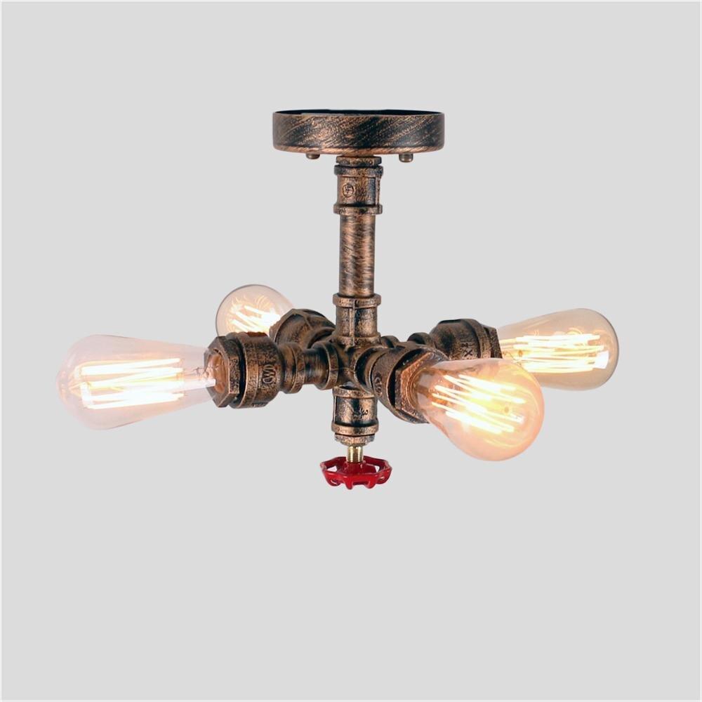 Vintage Ceiling Lights Metal Water Pipe Steampunk Retro Light Fixtures 4 Lights ,Copper Finished , E27 Lampholder , Edsion Bulb