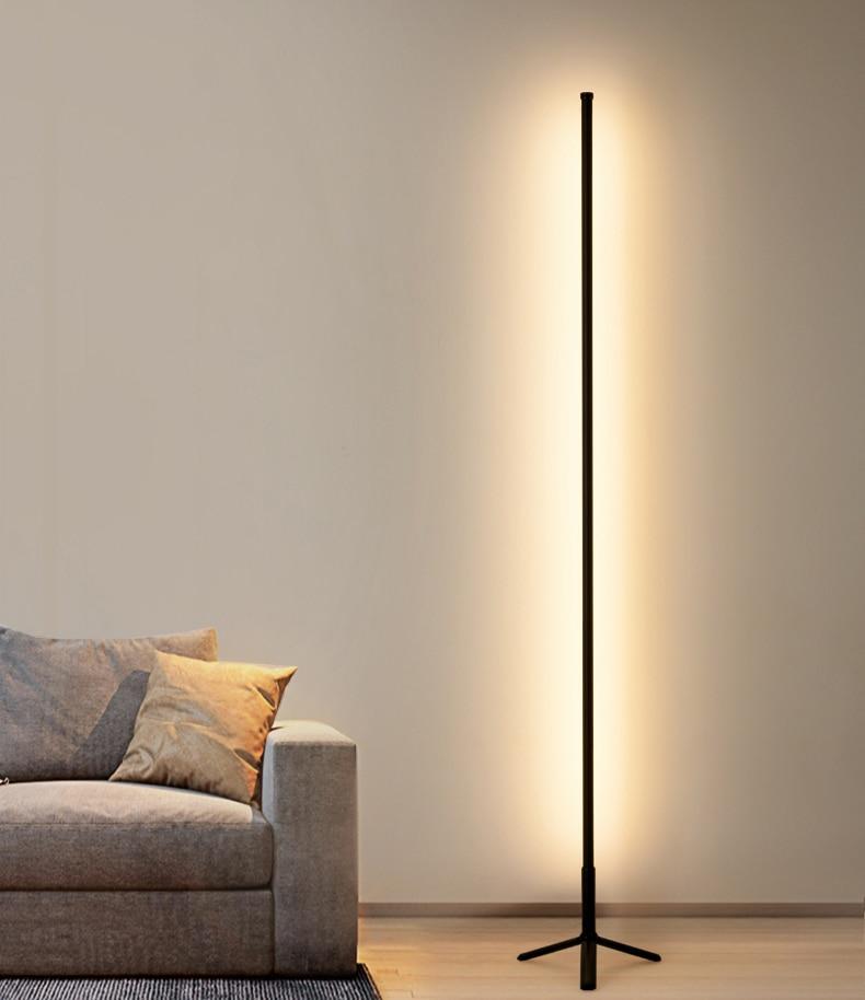 Modern LED Floor Lamp Black LED Floor Lamp Simple Living Room Bedroom Lamp