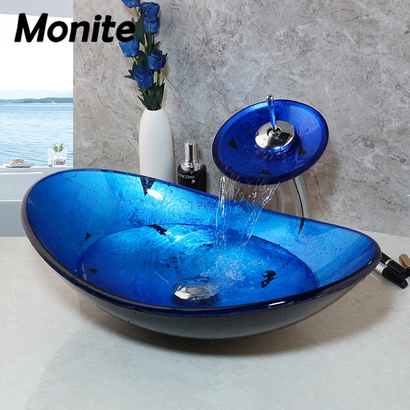 Bathroom Washbasin Vanity-Bar Sink Vessel Monite Countertop Blue Faucet Waterfall Brass