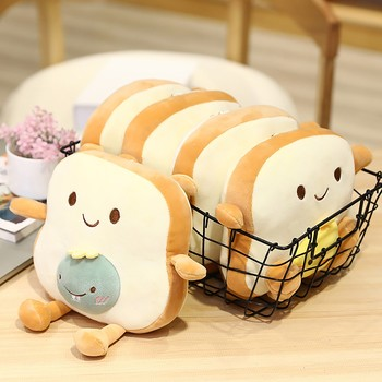 Cute Soft Doll Bread Slice Pillow For Children Adult Holiday Gift Sofa Car Home Bedroom Decorations Plush Toys Cushion подушка image