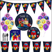 Among Us Birthday Party Decoration Balloon Game Banner Cake Topper Party Supplies Family Party Disposable Tableware Straw