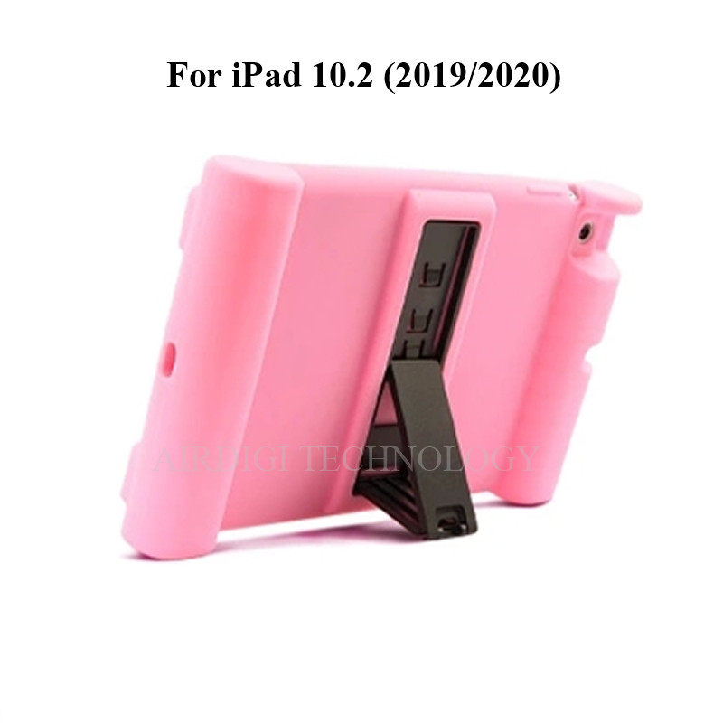 pink Gray Soft Shockproof Silicone Cover Kickstand Case for iPad 10 2 A2198 A2200 A2197 A2270 A2428 A2429