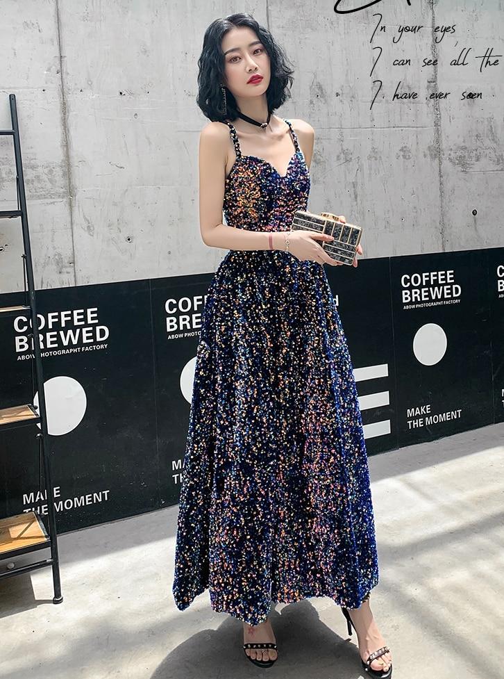 Negro Bling vestidos brillantes FIESTA DE PROMOCIÓN 2020 Dubai correas largas Sweetheart árabe vestidos de fiesta de noche 2019 vestido Formal de lentejuelas doradas - 2