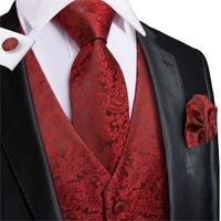 Hi-Tie Men's Vest Suit Wine Red 100% Silk Paisley Woven High Quality Solid Waistcoat Vest for Men Pocket Hanky Cufflinks Set