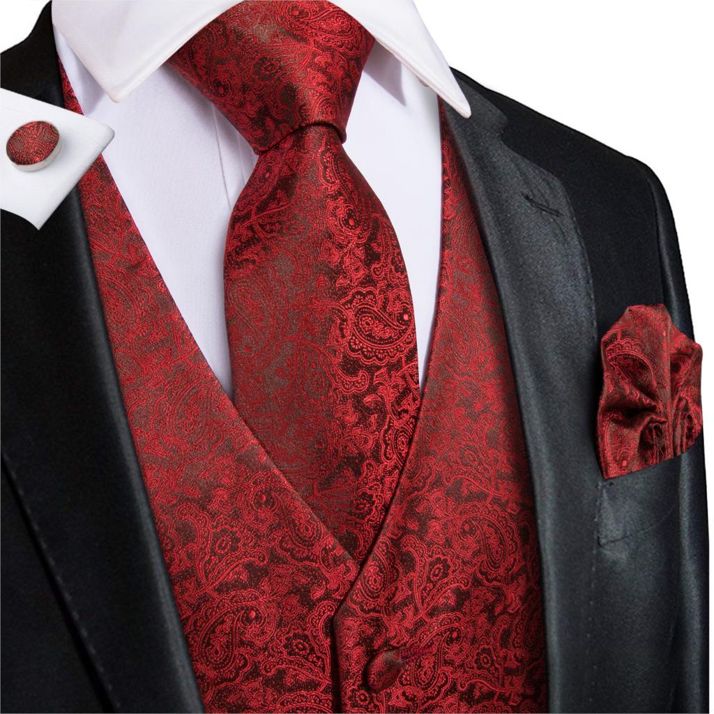 Hi-Tie Men's Vest Suit Wine Red 100% Silk Paisley Woven High Quality Solid Waistcoat Vest For Men Pocket Hanky Cufflinks Set