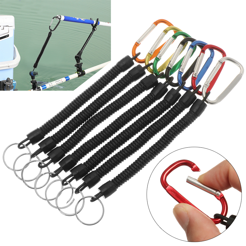 Steel Coiled Lanyard with Swivel Carabiner Tool Holder for Fishing Climbing