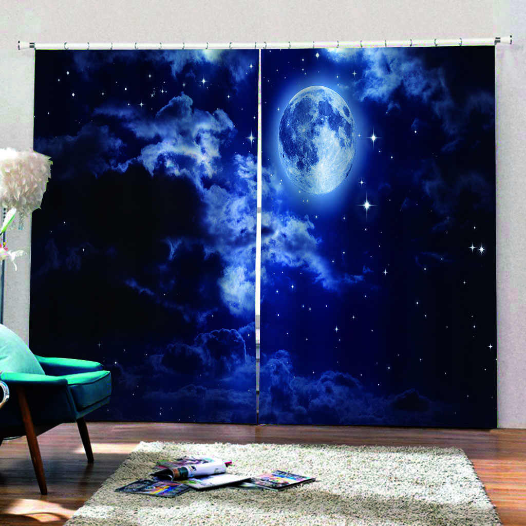moon Blue 3D Curtains Living Room Bedroom Drapes Cortinas Customized size star curtains