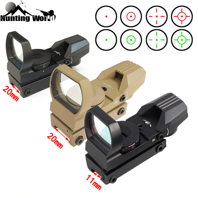 Tactical 11/20mm Red Green Dot Holographic Reflex Sight Optic Riflescope for Airsoft Air Gun Rifle Accessory Hunting  Caza 1