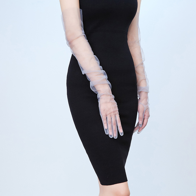 Summer Women Ultra-thin Sunscreen Driving Glove Hallowe 70cm Sexy Lace Gloves mesh yarn Long Full Finger Touch Screen Gloves K10 3