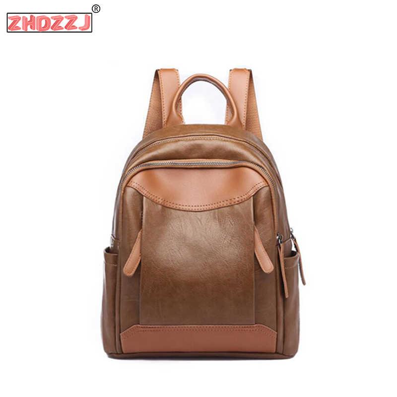 2019 Moda mujer Mochila De cuero suave de alta calidad mochila de viaje mujer bolso de hombro PU estudiantes mochilas escolares