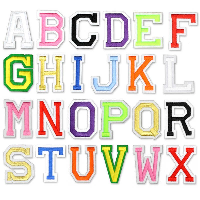 26 шт./лот, нашивки с железными буквами для одежды, логотип, железная нашивка на одежде, вышитая наклейка с буквами, мультяшный алфавит, ABC Name