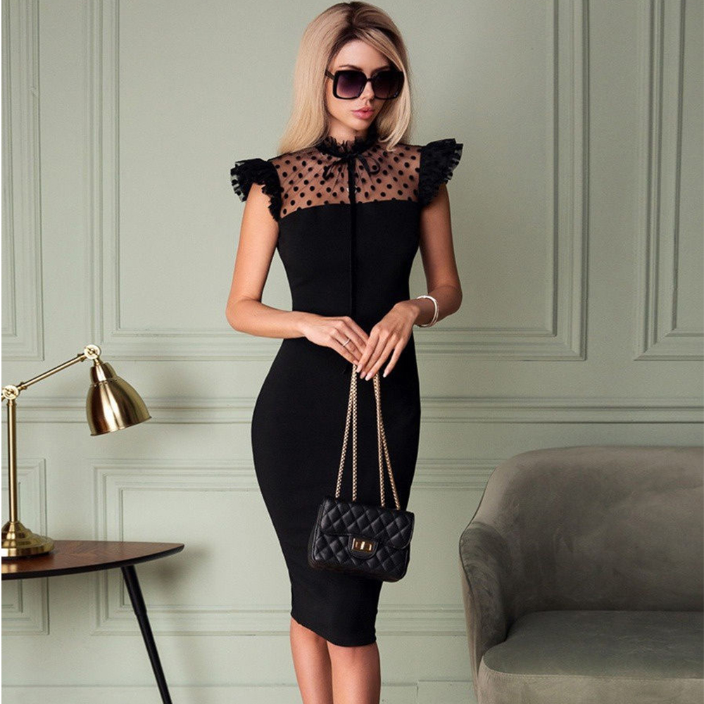 Ocstrade Lace Black Bodycon Dress 2020 New Arrival Summer Women Sexy Bodycon Dress Club Celebrity Evening Party Dress