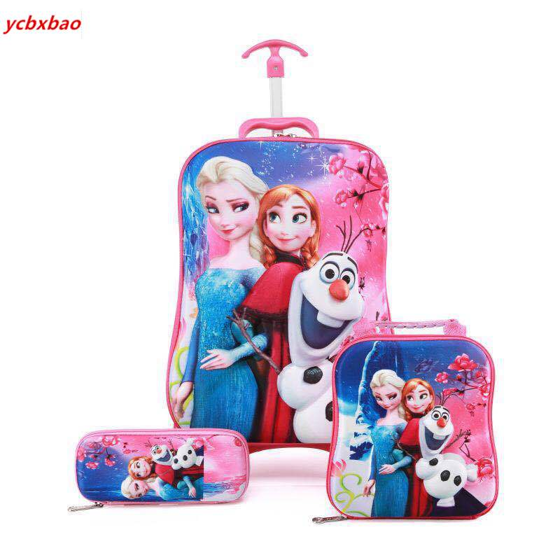 Children 3D School Bag Trolley Child Girl Stair Pull Box Roller Multicolor Suitcase School Backpack With Wheel Trolley Case