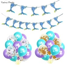Twins Party Little Mermaid  Decoration Happy Birthday Banner Wedding Ballons Baby Shower
