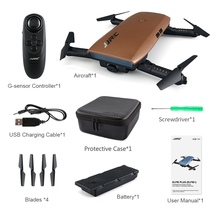 JJRC H47 ELFIE Plus FPV with HD Camera Upgraded Foldable Arm WIFI 6 Axis RC Drone Quadcopter Helicopter Brown Blue