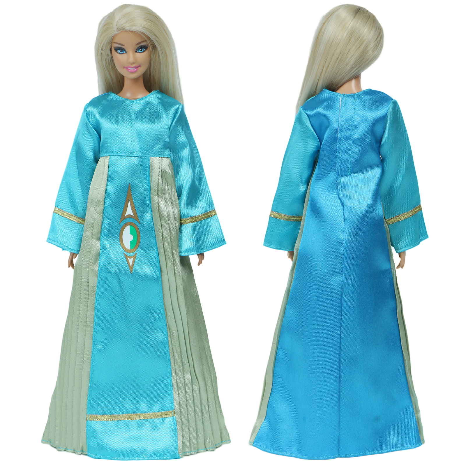 1x Handmade Blue Dress Evening Party Outfit Long Sleeves Gown Robe Clothes For Barbie Doll Accessories Kids Girl Toys