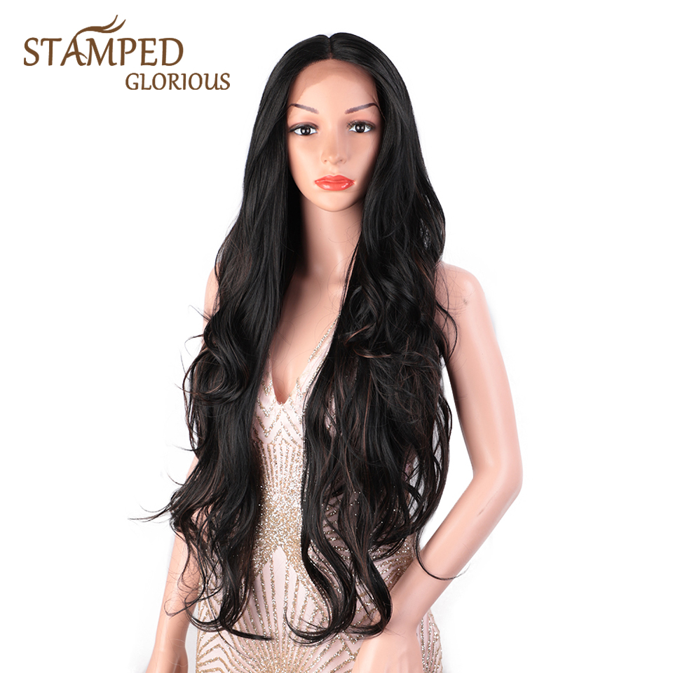 Stamped Glorious 30inches Middle Part Long Black Wig Synthetic Lace Front Wig Heat Resistant Fiber Natural Wave Wig For Women