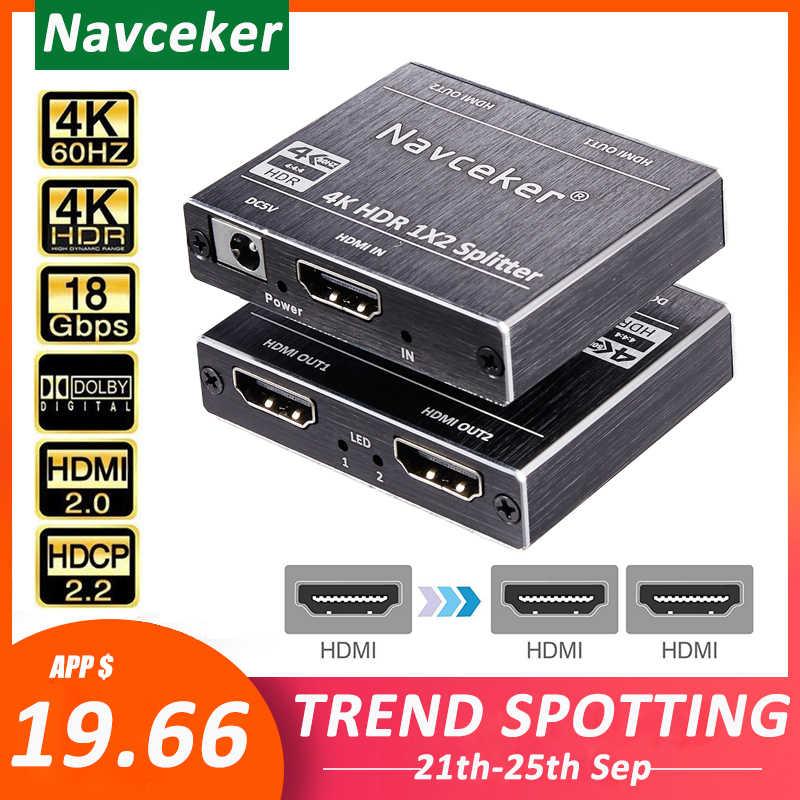 Novo 4k 60hz hdr hdmi 2.0 divisor 1x2 divisor hdmi 2.0 4k suporte hdcp 2.2 uhd hdmi divisor 2.0 caixa de interruptor para ps4 projetor