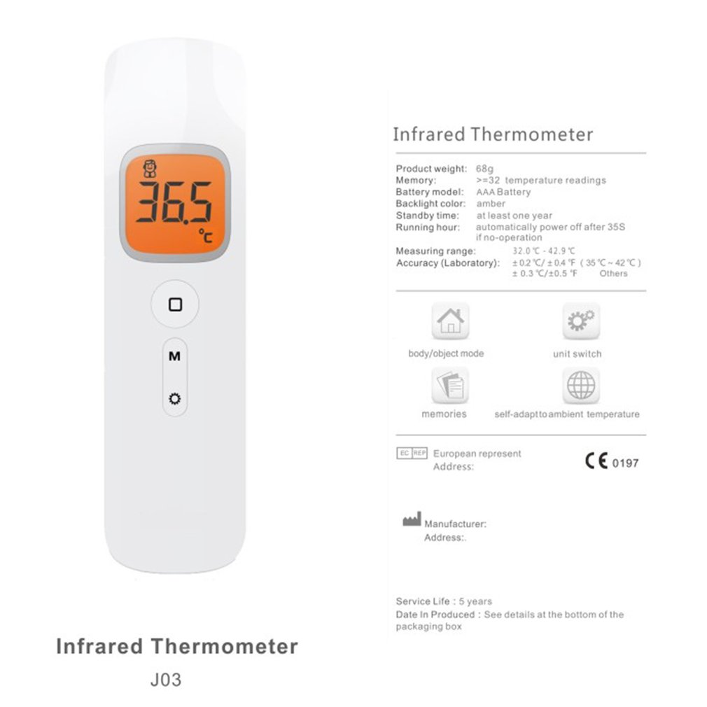 Profession Infrared Thermometer LCD Display Digital Non Contact Laser Temperature Fevers Forehead Thermometer Gun For Baby Adult