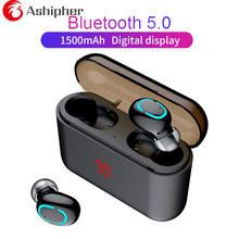 Bluetooth 5.0 Earphone HBQ TWS Wireless Headphons Sport Handsfree Earbuds 3D Stereo Gaming Headset With Mic Charging Box(China)