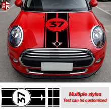 Car Hood Decal Engine Cover Vinyl Rear Trunk Bonnet Stripes Stickers For MINI Countryman R60 Cooper S One JCW Accessories car styling side racing stripes hood rear engine cover trunk vinyl decal sticker for bmw mini cooper countryman r60 2013 2016