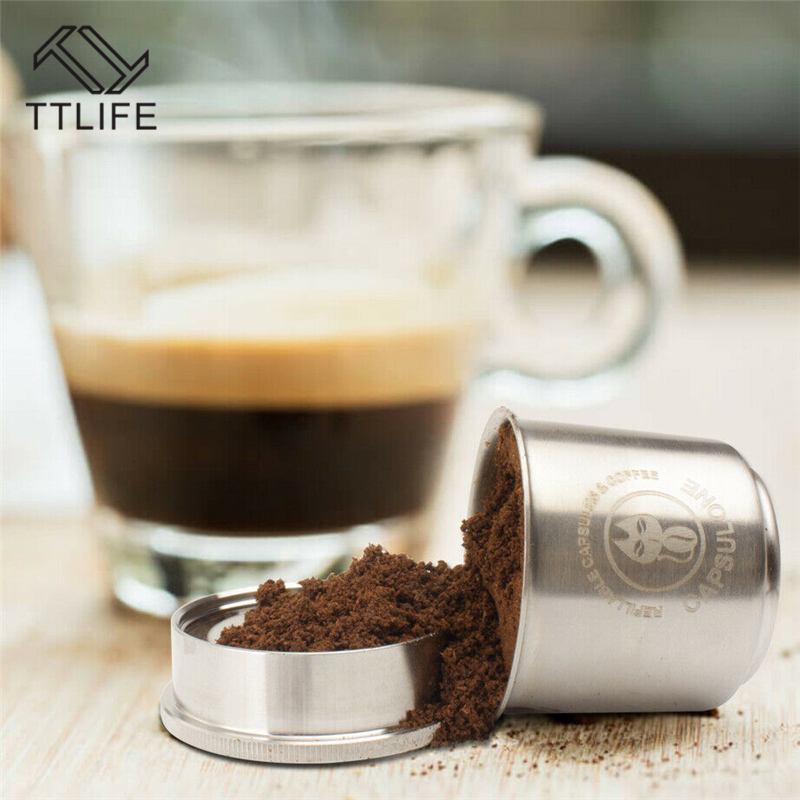 TTLIFE Refillable Coffee Capsule Pod Resuable Filter Cup Fit For Illy Coffee Machine Metal Stainless Steel Coffee Capsule Tools