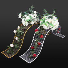 4pcs New Wrought Iron Wedding Props DecorativeGrid S-shaped Wave Road Lead Geometric Box Party T Set Layout Decoration Ornaments