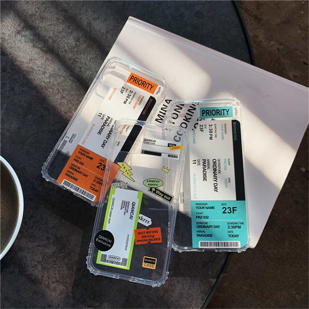 H0e9e25bb9dcd4f0ea5ad6d5832e25aceS - New Trend Transparent Anti-drop ticket label Code Case For iPhone 11 Pro XS Max XR X 6 6S 7 8 Plus Soft TPU Protecte Back Cover