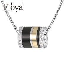Floya Simple Titanium Stainless Steel Necklaces Pendants Layered Accessorie Trendy Women Spinner Original Summer Valentines Day