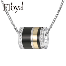 Floya Stackable Pendants Necklaces Titanium Steel Personality Trendy Women Spinner Original Summer Layers Valentines day Gift