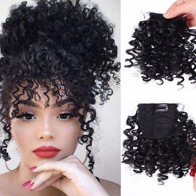 JINKAILI поддельные афро кудрявые бахрома зажимы в челке Высокая температура волокна шиньоны натуральные черные синтетические волосы для наращивания