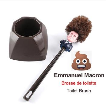Emmanuel Macron Brosse WC Brosse de toilette francja prezydent Trump szczotka do WC śmieszne tanie i dobre opinie MOONBIFFY CN (pochodzenie) Na stanie