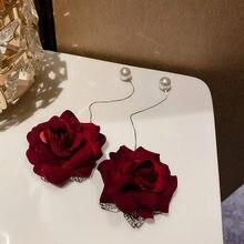 FYUAN-pendientes de gota de terciopelo rosa roja para mujer, aretes largos de perlas de línea de oreja para mujer, joyería de boda para novia