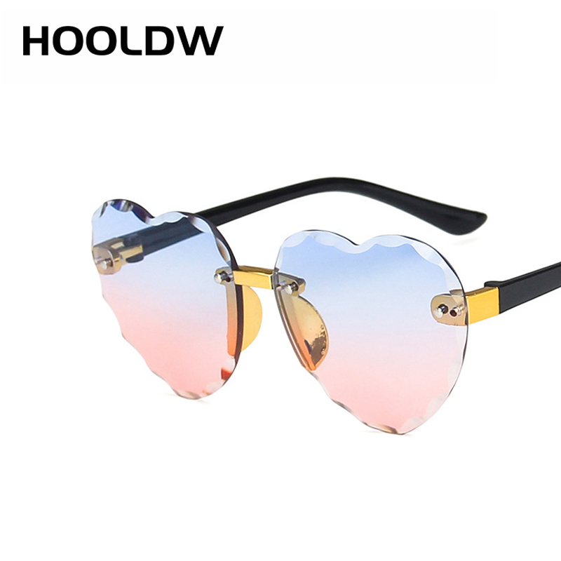 HOOLDW New Heart Rimless Kids Sunglasses Fashion Heart Shape Children Sun Glasses Girls Outdoors Travel UV400 Protection Eyewear