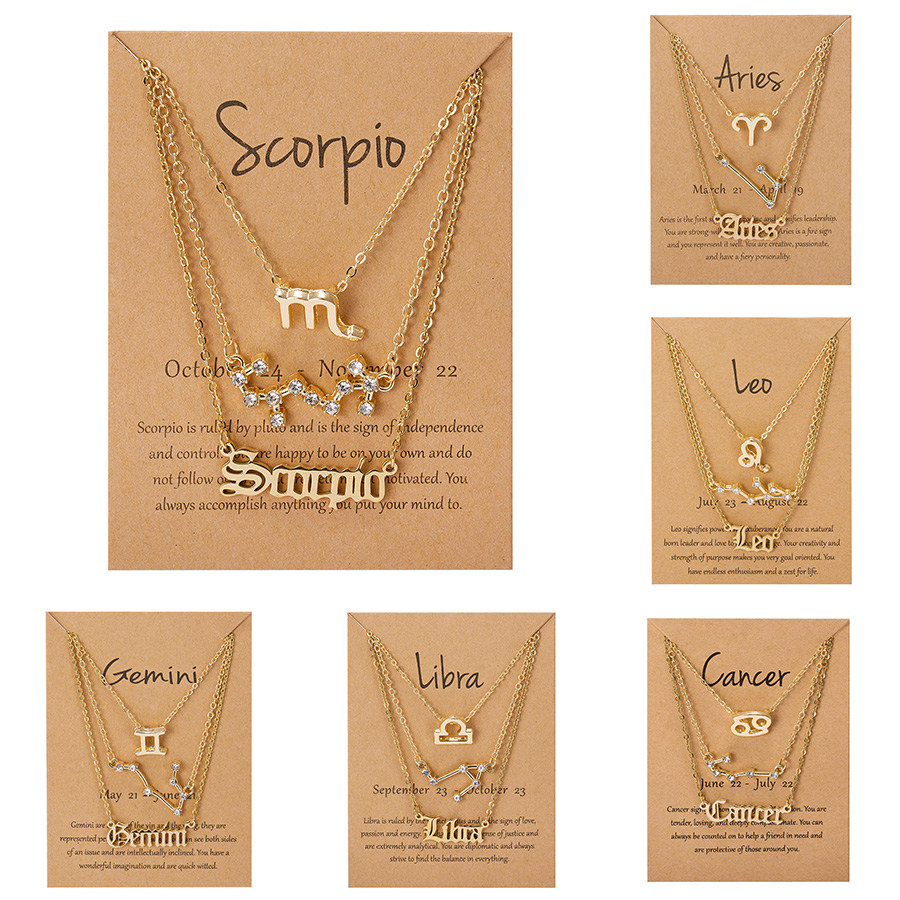 3pcs/set Fashion 12 Constellation Necklace For Women Gold Chain Zodiac Sign Horoscope Letter Choker Couple Jewelry Birthday Gift
