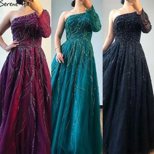 Image 2 - Dubai Thiết Kế Rượu Vang Đỏ Chữ A Váy Đầm Dạ Một Vai Gợi Cảm Cao Cấp Form Đầm Suông 2020 Thanh Thoát Đồi LA60988