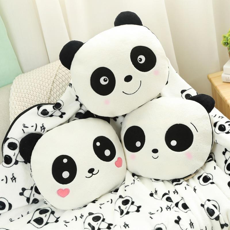 35cm Cute Panda With Blanket Plush Pillow Soft Stuffed Cartoon Animal Panda Doll Sleeping Pillow Cushion Baby Girlfriend Gift