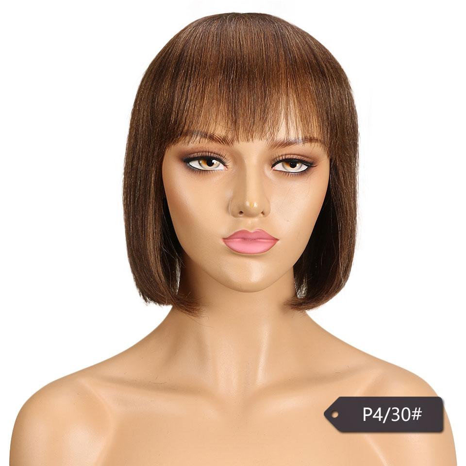 reta peruca com franja brasileiro remy perucas