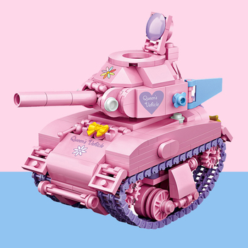 LOZ mini building block car model brick block pink tank boy girl gift children toy collection