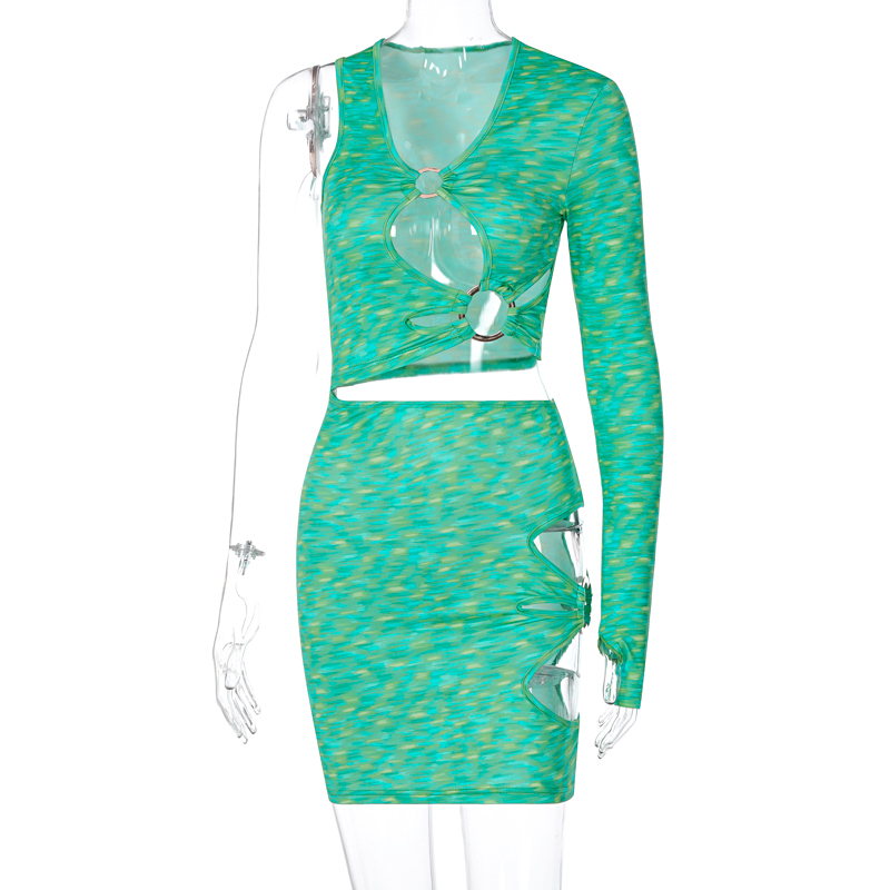 Hugcitar 2021 Long Sleeve One-Shoulder Hollow Out Sequined Print Mini Dress Spring Summer Women Fashion Sexy Party Club Outfits 1