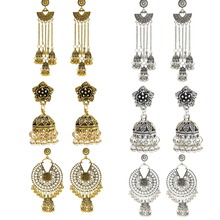 Indian Vintage Color Long hollow Tassel Statement Jhumka Earrings With Birdcage For Women Party Ethnic Jewelry vintage tassel green dangle earrings pendientes hollow out boho long resin earrings for women ethnic indian jewelry e5d065
