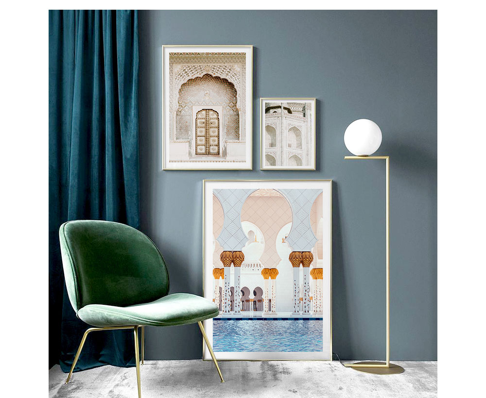 Allah Islamic Wall Art Canvas Poster Morocco Door Muslim Building Print Nordic Decorative Picture Painting Modern Mosque Decor
