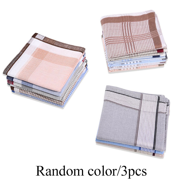 3Pcs Classic Hanky Pocket Square Cotton Towel Square Plaid Stripe Handkerchiefs 38*38cm Random Light Color Women Men Suit Pocket